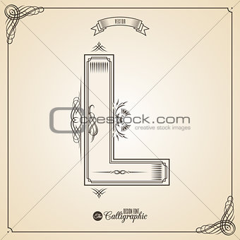 Calligraphic Fotn with Border, Frame Elements and Invitation Design Symbols. Collection of Vector glyph. Certificate Decor. Hand written retro feather Symbol. Letter L