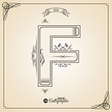Calligraphic Fotn with Border, Frame Elements and Invitation Design Symbols. Collection of Vector glyph. Certificate Decor. Hand written retro feather Symbol. Letter F
