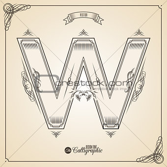Calligraphic Fotn with Border, Frame Elements and Invitation Design Symbols. Collection of Vector glyph. Certificate Decor. Hand written retro feather Symbol. Letter W