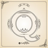 Calligraphic Fotn with Border, Frame Elements and Invitation Design Symbols. Collection of Vector glyph. Certificate Decor. Hand written retro feather Symbol. Letter Q