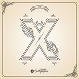 Calligraphic Fotn with Border, Frame Elements and Invitation Design Symbols. Collection of Vector glyph. Certificate Decor. Hand written retro feather Symbol. Letter X