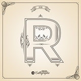 Calligraphic Fotn with Border, Frame Elements and Invitation Design Symbols. Collection of Vector glyph. Certificate Decor. Hand written retro feather Symbol. Letter R