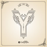 Calligraphic Fotn with Border, Frame Elements and Invitation Design Symbols. Collection of Vector glyph. Certificate Decor. Hand written retro feather Symbol. Letter Y