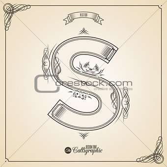 Calligraphic Fotn with Border, Frame Elements and Invitation Design Symbols. Collection of Vector glyph. Certificate Decor. Hand written retro feather Symbol. Letter S