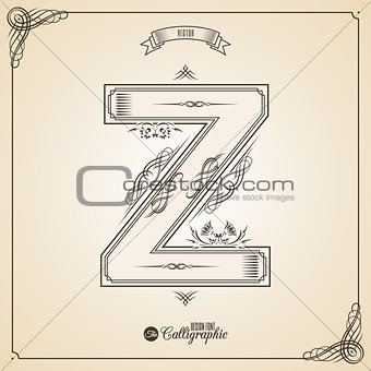Calligraphic Fotn with Border, Frame Elements and Invitation Design Symbols. Collection of Vector glyph. Certificate Decor. Hand written retro feather Symbol. Letter Z