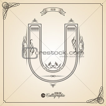 Calligraphic Fotn with Border, Frame Elements and Invitation Design Symbols. Collection of Vector glyph. Certificate Decor. Hand written retro feather Symbol. Letter U
