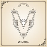 Calligraphic Fotn with Border, Frame Elements and Invitation Design Symbols. Collection of Vector glyph. Certificate Decor. Hand written retro feather Symbol. Letter V