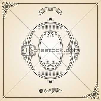 Calligraphic Fotn with Border, Frame Elements and Invitation Design Symbols. Collection of Vector glyph. Certificate Decor. Hand written retro feather Symbol. Number 0