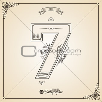 Calligraphic Fotn with Border, Frame Elements and Invitation Design Symbols. Collection of Vector glyph. Certificate Decor. Hand written retro feather Symbol. Number 7