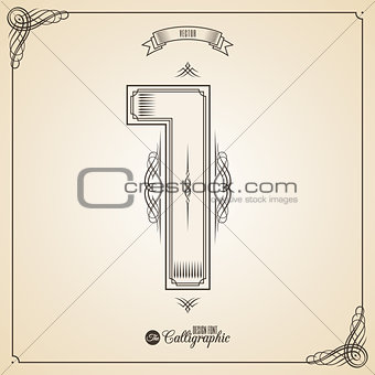 Calligraphic Fotn with Border, Frame Elements and Invitation Design Symbols. Collection of Vector glyph. Certificate Decor. Hand written retro feather Symbol. Number 1