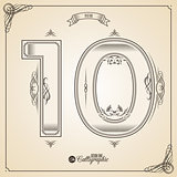 Calligraphic Fotn with Border, Frame Elements and Invitation Design Symbols. Collection of Vector glyph. Certificate Decor. Hand written retro feather Symbol. Number 10