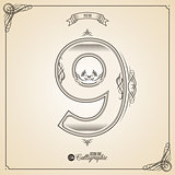 Calligraphic Fotn with Border, Frame Elements and Invitation Design Symbols. Collection of Vector glyph. Certificate Decor. Hand written retro feather Symbol. Number 9