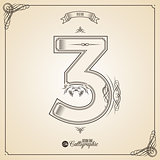 Calligraphic Fotn with Border, Frame Elements and Invitation Design Symbols. Collection of Vector glyph. Certificate Decor. Hand written retro feather Symbol. Number 3