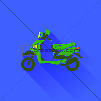 Green Scooter Silhouette
