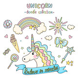 Unicorn set. Doodle collection.