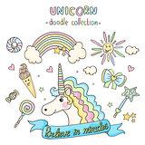 Unicorn set. Doodle collection.