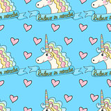 Funny pattern unicorn with heart on a blue background.