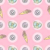 Funny candy cartoon doodle pattern with ice cream, donut.