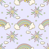 Cartoon funny pattern with sun, rainbow, star.