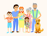 Cartoon happy family portrait with cat and dog.