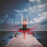 Dancer on a floating dock
