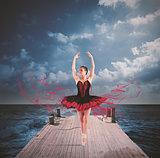 Dancer on a floating dock