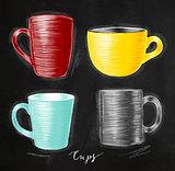 Set cups chalk