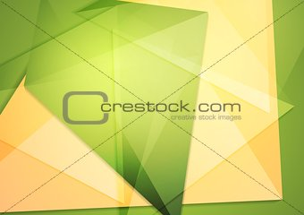 Green orange polygonal brochure template