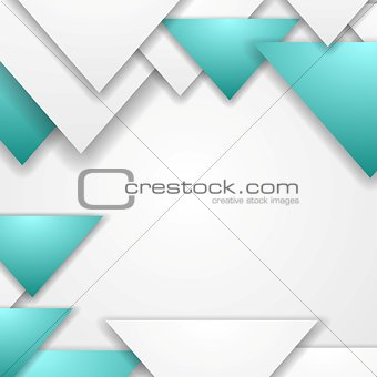 Abstract turquoise triangles vector corporate background