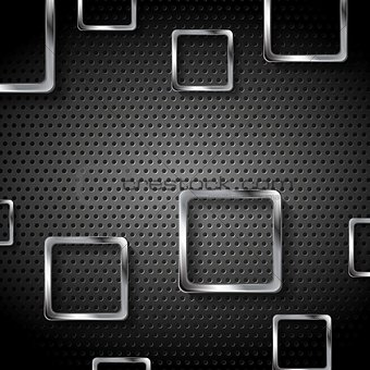 Abstract metal perforated background with squares