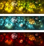 Bright glowing bokeh banners design