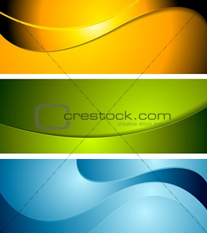Abstract corporate wavy bright banners