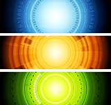 Bright abstract tech vector banners