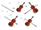 Violin, bow and Notes Set Isolated on White Background