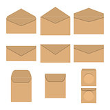Set of paper envelopes, vector illustration.