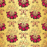 Vintage golden floral seamless pattern