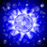 Christmas blue light vector background. Card or invitation.