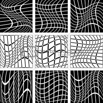 Crossing wavy lines in net backdrops.