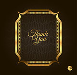 Thank you Golden frame. Vintage gold background, vector antique on black