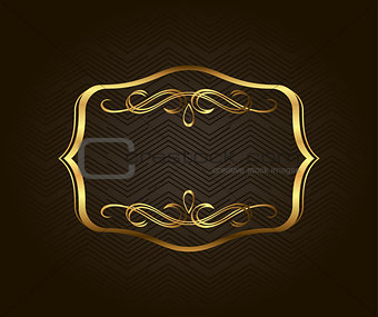 Blank golden vintage frame, banner, label, Vector EPS10. Gold Decorative with place for text