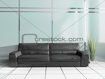 black sofa in modern interior