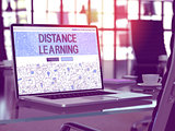 Distance Learning on Laptop in Modern Workplace Background. 3D Illustration.