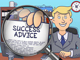 Success Advice through Magnifier. Doodle Design.