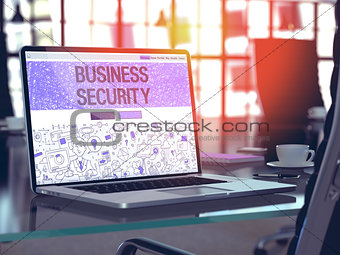 Business Security Concept on Laptop Screen. 3D Illustration.