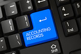 Keyboard with Blue Button - Accounting Records. 3D Rendering.