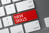Red New Skills Key on Keyboard. 3D Rendering.