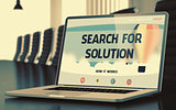 Landing Page of Laptop with Search For Solution Concept. 3D Illustration.