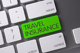 Green Travel Insurance Key on Keyboard. 3D Rendering.