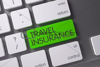 Green Travel Insurance Key on Keyboard. 3D Rendering.