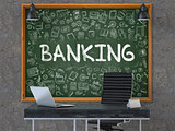 Banking Concept. Doodle Icons on Chalkboard. 3D Illustration.